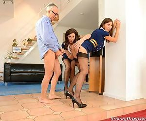 Mature woman and set daughter offer their asses up for an oldman fuck together