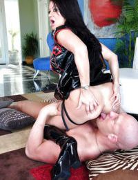 Mature femdom Raquel Devine face sitting a guy and fucking him by strapon