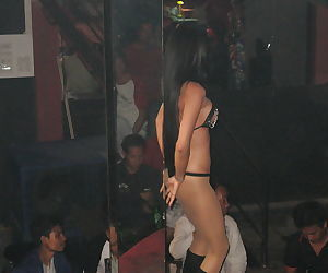 Skinny asian babes in boots and erotic lingerie doing striptease