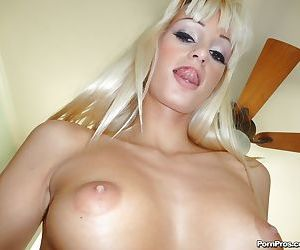 Blonde solo model Erica Fontes baring small boobs and pierced vagina