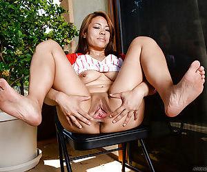 Close up photos of Asian mom Laci Hurst spreading pink vagina