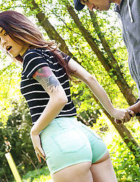 Horny redhead teen Misha Cross stumbling upon a monster in the woods