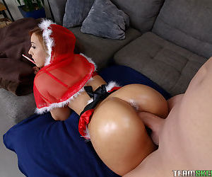 Amateur slut in a Christmas costume Demi Lopez takes a ride on a hard prick