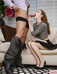 Barely legal coed Tali Dova giving fat cock blowjob before facial cumshot