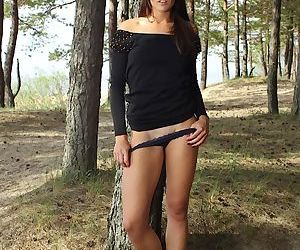 Inexpert outdoor posing alien a pulchritudinous teen babe Lorette adjacent to panties