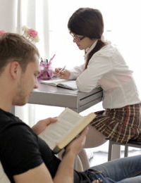 Nerdy girlfriend Mackenzie takes break from books to suck boyfriends cock