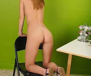 Barely legal nude model Maci Winslett fingering shaved teen vagina