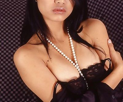 Kicky thai slut in lingerie revealing her bosoms and hairy cooter