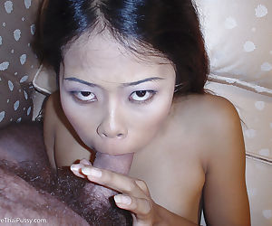 Filthy asian babe gets her sweet mouth stretched with a fat cock