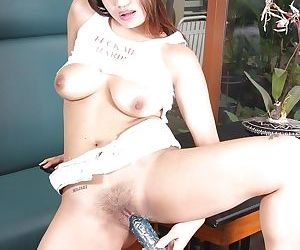 Busty asian MILF doing upskirt and masturbating her trimmed twat