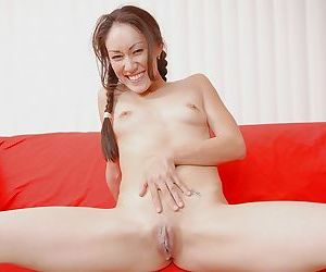 Thai cutie with pigtails gets her tight pussy stretched by a huge black boner