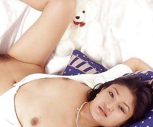 Horny asian babe exposing and masturbating her hairy gloryhole