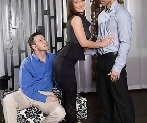 Compelling young slut in stockings Myrna Joy blowjobs horny colleagues