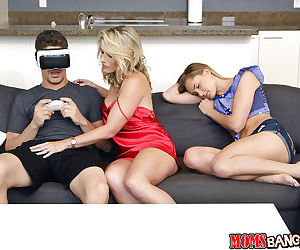 Young babe Avalon Heart and big-breasted MILF Cory Chase share hard poker