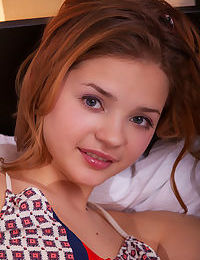 Cute petite teenager Colleen exposes her cleanly shaved beaver