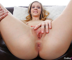 Young blonde girl Rachel James strips naked on the casting couch