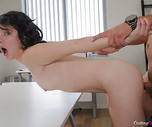 Young brunette Cadence Carter receiving cum facial after bald cunt banging