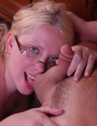 Glasses attired mature fatty Christal blowing cock and licking ball sac