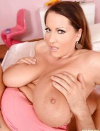 Mature Euro fatty Laura Orsolya rocking massive juggs during MMF threesome