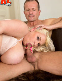 Middle aged BBW Samantha Sanders gets her giant tits covered in jizz by 2 men