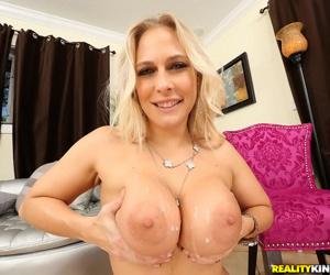 Big-tit blonde milf Angel Allwood gets cum on her boobies as she like