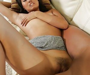 Interracial lesbos Angelina Chung and Misty Stone licking pussy