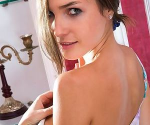 Teen glamour model Semmi A reveals perfect young girl tits while undressing