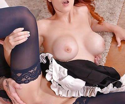Stocking clad European maid Isabella Lui taking hardcore sex in high heels