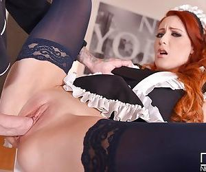 Stocking clad European maid Isabella Lui taking hardcore sex in high heels