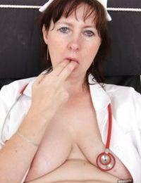 Awesome mature babe in nurse uniform Blanka hardcore masturabating
