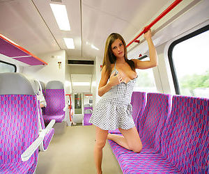 Sexy Little Caprice lifts her skirt to show a shaved pussy on the bus