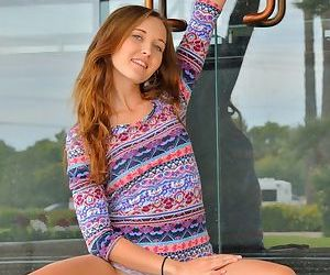 Natural redhead flashes naked upskirt in public & toys bald pussy with dildo