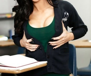 Pretty schoolgirl Kendall Karson stripping in the classroom
