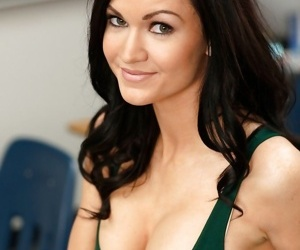 Pretty schoolgirl Kendall Karson stripping in the classroom