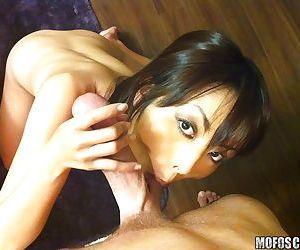 Foxy asian chick Marica Hase sucking off a big white boner