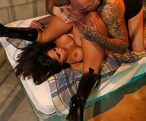 Busty hot Asian Spyder Jonez in boots get hard jail cell bang by huge cock