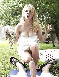 Outdoor voyeur scene features teen cutie Ali Rae sucking cock