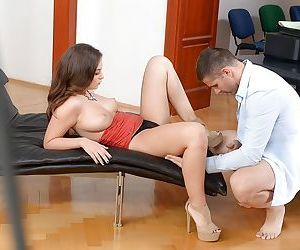 Young Euro beauty Angelina Brill jerking cock for cumshot