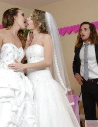 Teen pornstars Dillion Harper and Kimmy Granger have 3some on wedding night