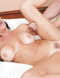 Curvy brunette babe Veronica Avluv blows a big dick before taking cumshot