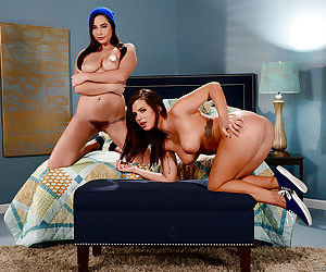 Young and busty brunettes Karlee Grey and Keisha Grey pose naked together