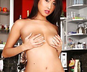 Asian babe with a hot booty Sharon Lee spreading her beautiful legs