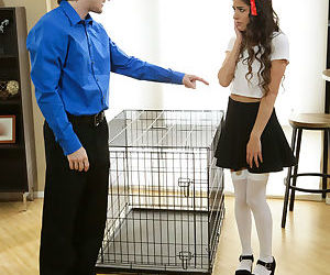 Naughty coed Arielle Faye gets put in a cage and taken out only to give head