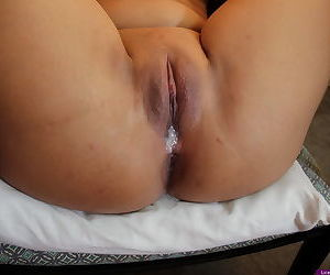 Sweet young Asian rides a cock to show off a sloppy pussy creampie