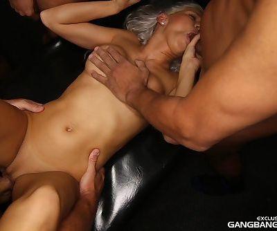 Super slutty Kacey Jordan ends up with a dripping cum creampie after gangbang