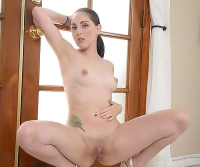 Fresh faced Nickey Huntsman gets on her knees naked for a sloppy POV blowjob