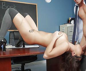 Barely legal schoolgirl Karlee Grey getting face fucked on teachers desk