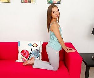 Young amateur girl Liza Rowe exposing her tiny tits on casting couch