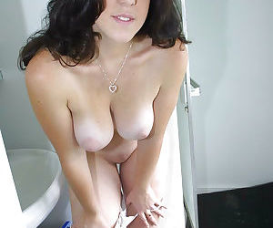 Sexy brunette lady is teasing her amateur pussy feat. Bambi