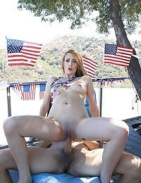 Young amateur hottie Blake Eden enduring outdoor sex in rough manners